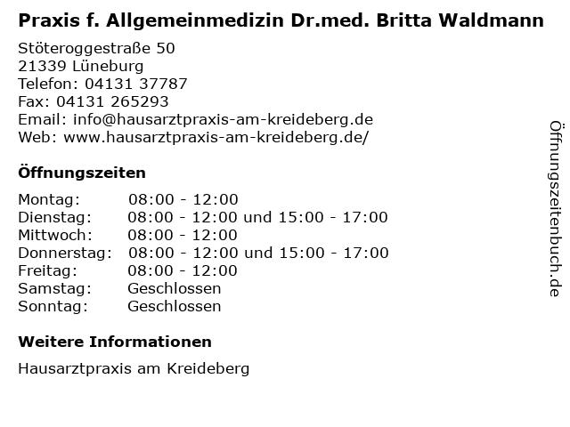 Praxis f. Allgemeinmedizin Dr.med. Britta Waldmann in Lüneburg: Adresse und Öffnungszeiten