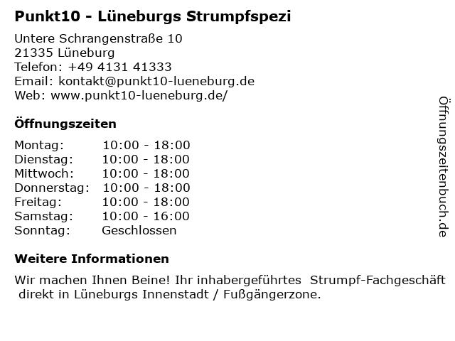 Punkt10 - Lüneburgs Strumpfspezi in Lüneburg: Adresse und Öffnungszeiten