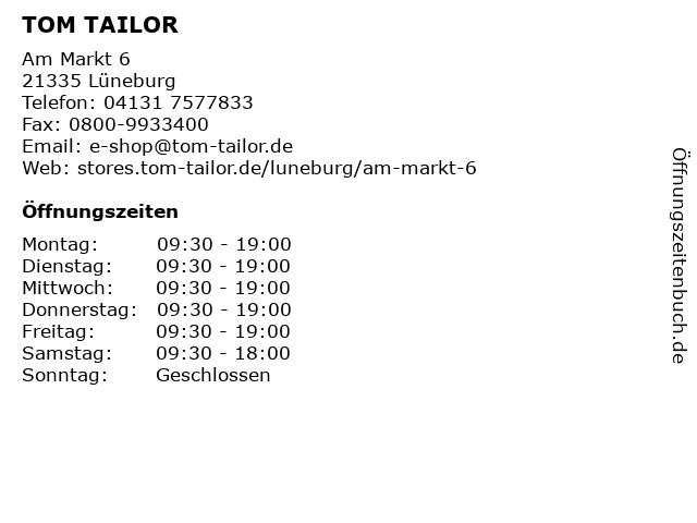 TOM TAILOR in Lüneburg: Adresse und Öffnungszeiten