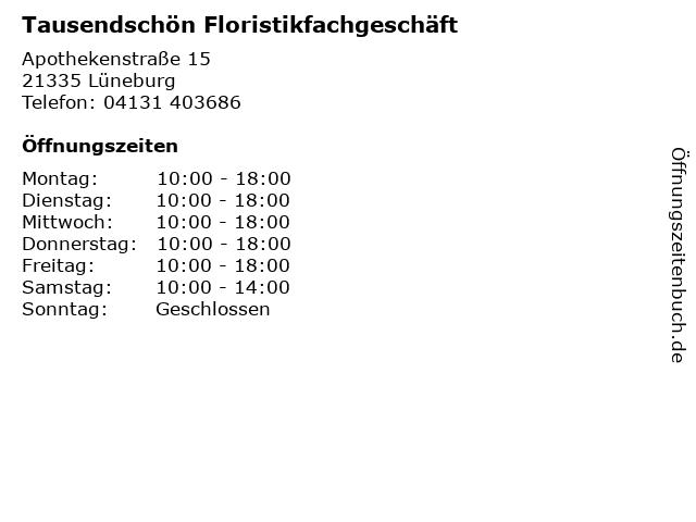 Tausendschön Floristikfachgeschäft in Lüneburg: Adresse und Öffnungszeiten