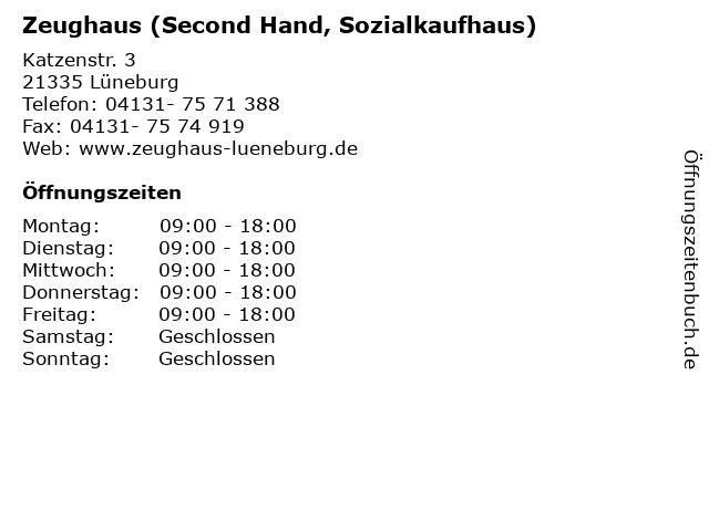 Zeughaus (Second Hand, Sozialkaufhaus) in Lüneburg: Adresse und Öffnungszeiten