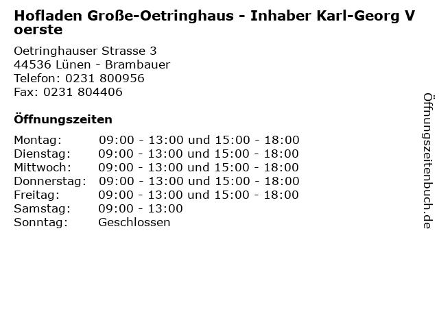Hofladen Große-Oetringhaus - Inhaber Karl-Georg Voerste in Lünen - Brambauer: Adresse und Öffnungszeiten