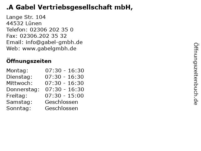 .A Gabel Vertriebsgesellschaft mbH, in Lünen: Adresse und Öffnungszeiten