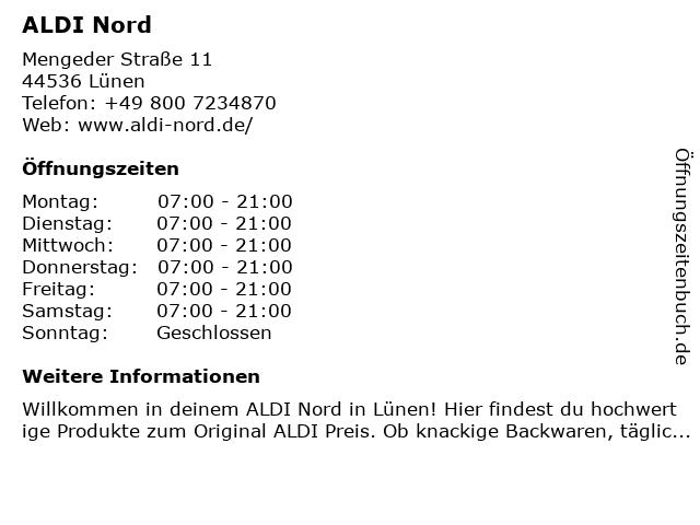 ALDI Nord in Lünen: Adresse und Öffnungszeiten