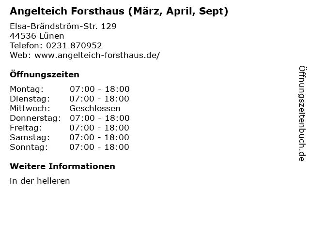 Angelteich Forsthaus (März, April, Sept) in Lünen: Adresse und Öffnungszeiten
