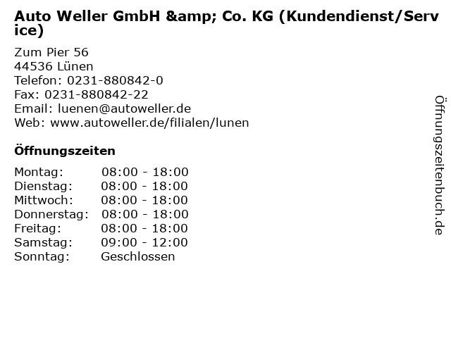 Auto Weller GmbH & Co. KG (Kundendienst/Service) in Lünen: Adresse und Öffnungszeiten