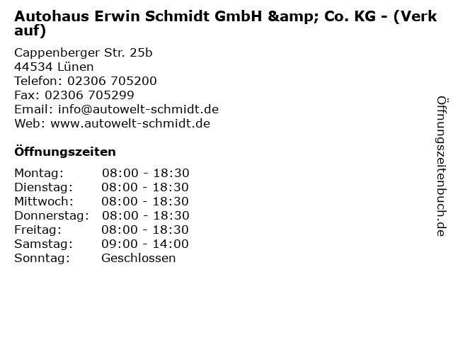 Autohaus Erwin Schmidt GmbH & Co. KG - (Verkauf) in Lünen: Adresse und Öffnungszeiten