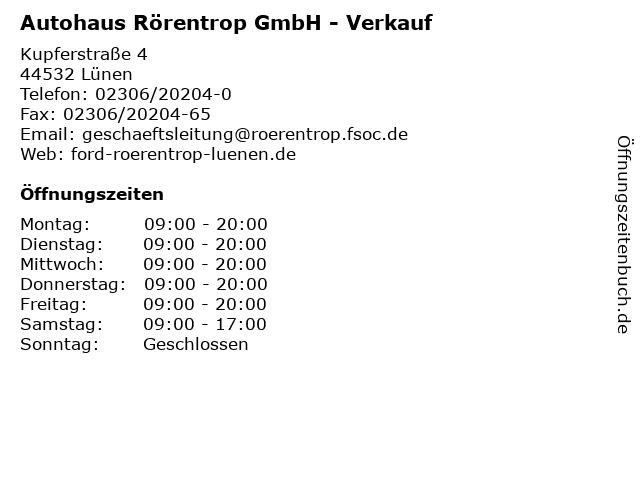 Autohaus Rörentrop GmbH - Verkauf in Lünen: Adresse und Öffnungszeiten