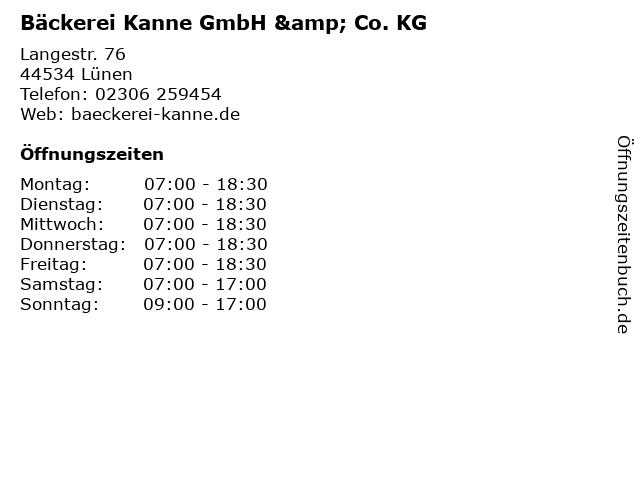 Bäckerei Kanne GmbH & Co. KG in Lünen: Adresse und Öffnungszeiten