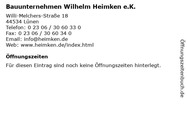Bauunternehmen Wilhelm Heimken e.K. in Lünen: Adresse und Öffnungszeiten