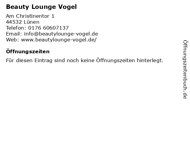 Beauty Lounge Vogel in Lünen: Adresse und Öffnungszeiten