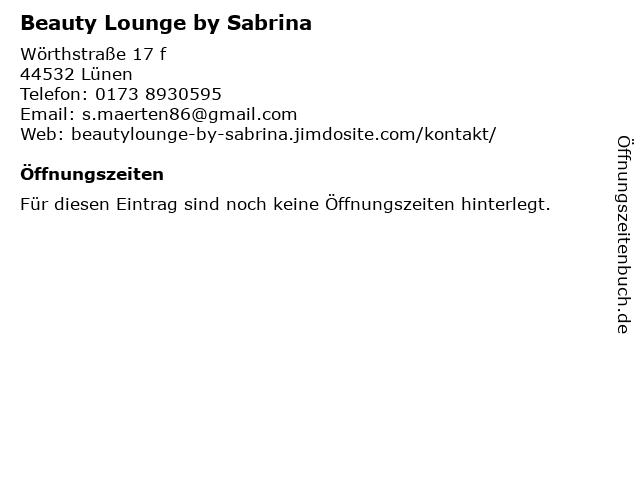 Beauty Lounge by Sabrina in Lünen: Adresse und Öffnungszeiten