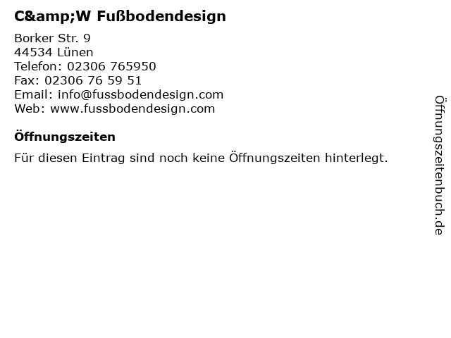 C&W Fußbodendesign in Lünen: Adresse und Öffnungszeiten