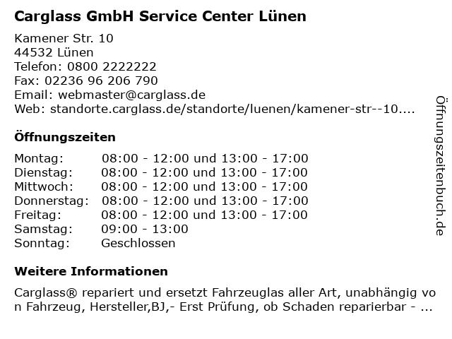 Carglass GmbH Service Center Lünen in Lünen: Adresse und Öffnungszeiten
