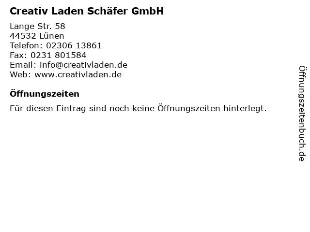 Creativ Laden Schäfer GmbH in Lünen: Adresse und Öffnungszeiten