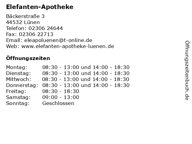 Elefanten-Apotheke in Lünen: Adresse und Öffnungszeiten