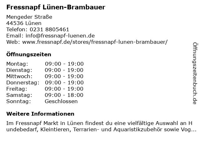 Fressnapf Lünen-Brambauer in Lünen: Adresse und Öffnungszeiten