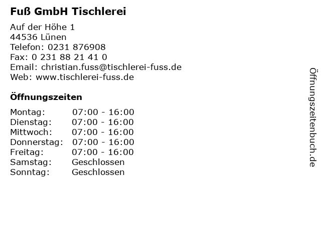Fuß GmbH Tischlerei in Lünen: Adresse und Öffnungszeiten