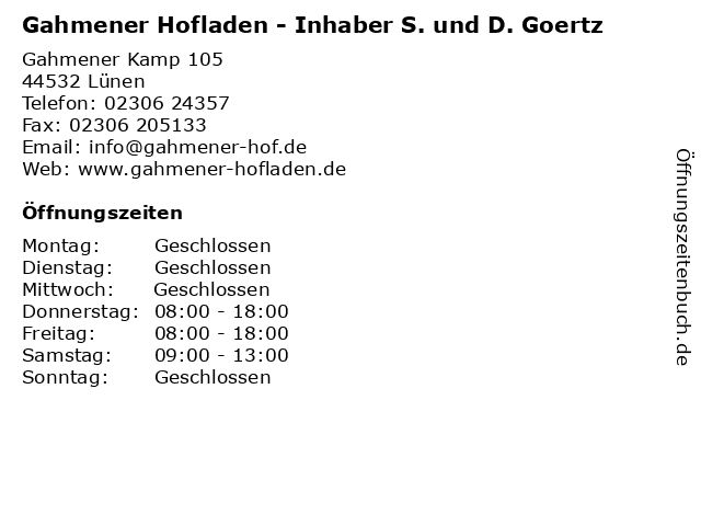 Gahmener Hofladen - Inhaber S. und D. Goertz in Lünen: Adresse und Öffnungszeiten