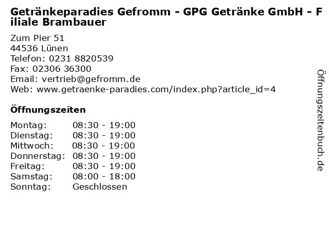Getränkeparadies Gefromm - GPG Getränke GmbH - Filiale Brambauer in Lünen: Adresse und Öffnungszeiten