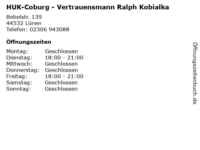 HUK-Coburg - Vertrauensmann Ralph Kobialka in Lünen: Adresse und Öffnungszeiten