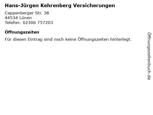 Hans-Jürgen Kehrenberg Versicherungen in Lünen: Adresse und Öffnungszeiten