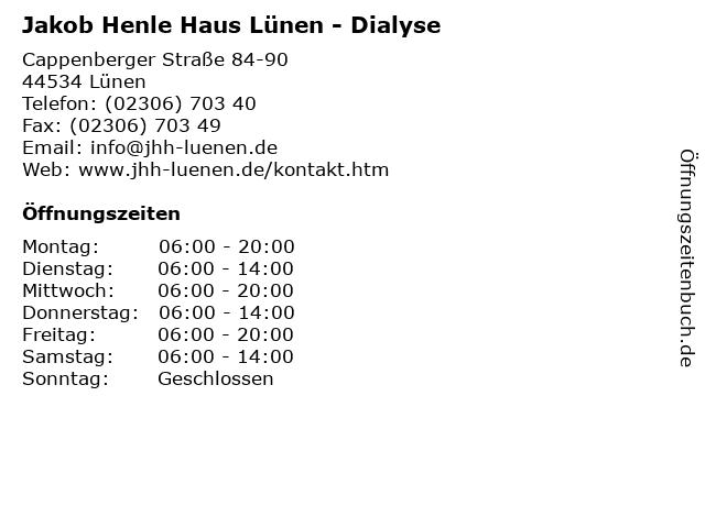 Jakob Henle Haus Lünen - Dialyse in Lünen: Adresse und Öffnungszeiten