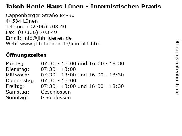 Jakob Henle Haus Lünen - Internistischen Praxis in Lünen: Adresse und Öffnungszeiten