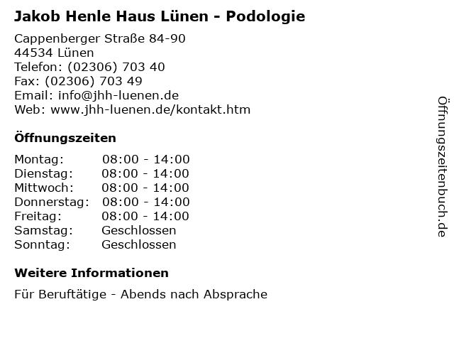 Jakob Henle Haus Lünen - Podologie in Lünen: Adresse und Öffnungszeiten