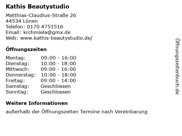 Kathis Beautystudio in Lünen: Adresse und Öffnungszeiten