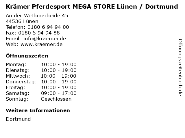 Krämer Pferdesport MEGA STORE Lünen / Dortmund in Lünen: Adresse und Öffnungszeiten