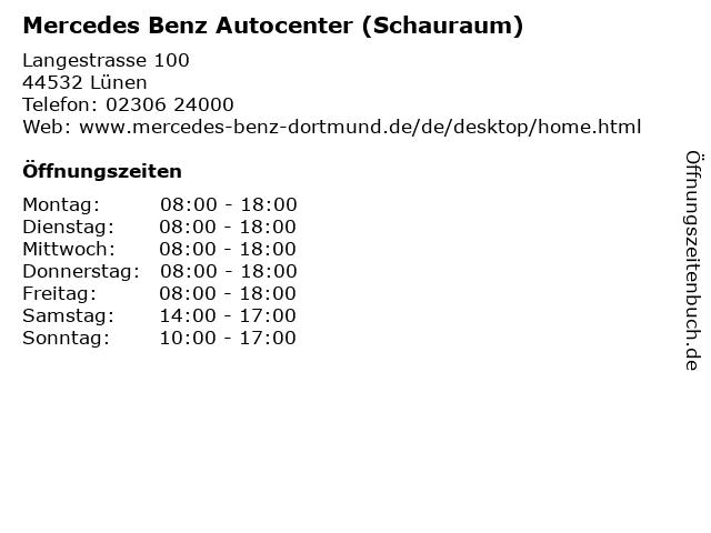 Mercedes Benz Autocenter (Schauraum) in Lünen: Adresse und Öffnungszeiten