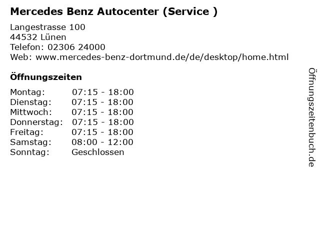 Mercedes Benz Autocenter (Service ) in Lünen: Adresse und Öffnungszeiten