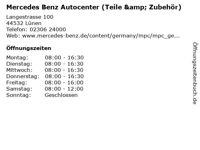 Mercedes Benz Autocenter (Teile & Zubehör) in Lünen: Adresse und Öffnungszeiten
