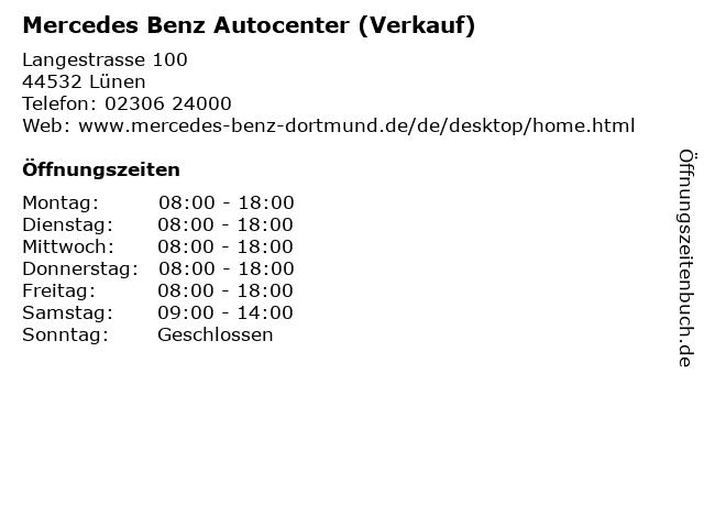 Mercedes Benz Autocenter (Verkauf) in Lünen: Adresse und Öffnungszeiten