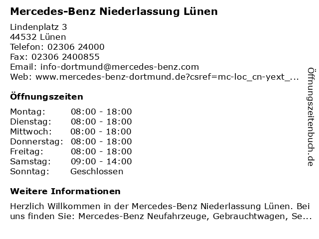 Mercedes-Benz Niederlassung Lünen in Lünen: Adresse und Öffnungszeiten