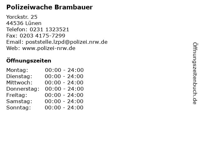Polizeiwache Brambauer in Lünen: Adresse und Öffnungszeiten