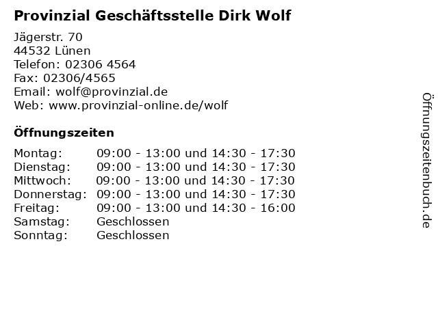 Provinzial Geschäftsstelle Dirk Wolf in Lünen: Adresse und Öffnungszeiten