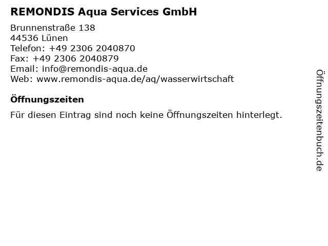 REMONDIS Aqua Services GmbH in Lünen: Adresse und Öffnungszeiten