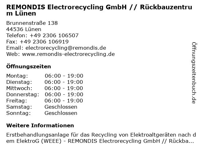 REMONDIS Electrorecycling GmbH // Rückbauzentrum Lünen in Lünen: Adresse und Öffnungszeiten