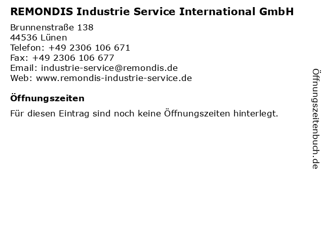 REMONDIS Industrie Service International GmbH in Lünen: Adresse und Öffnungszeiten