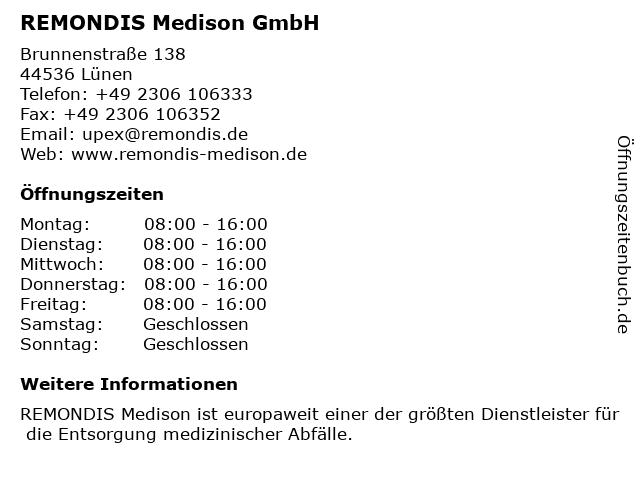 REMONDIS Medison GmbH in Lünen: Adresse und Öffnungszeiten