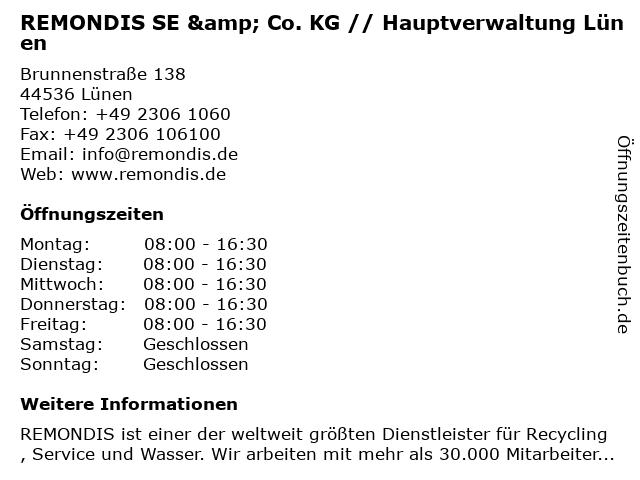 REMONDIS SE & Co. KG // Hauptverwaltung Lünen in Lünen: Adresse und Öffnungszeiten