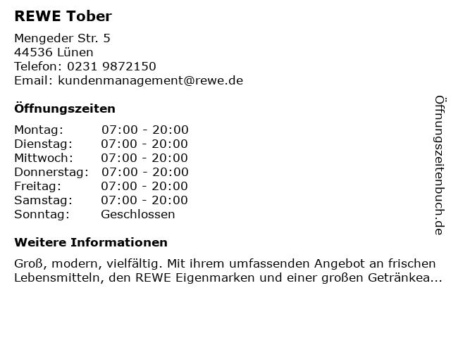 REWE Oliver Tober EH-oHG in Lünen: Adresse und Öffnungszeiten