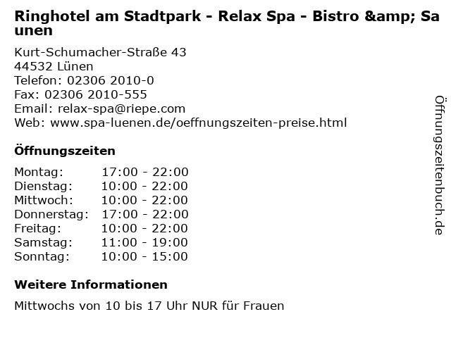 Ringhotel am Stadtpark - Relax Spa - Bistro & Saunen in Lünen: Adresse und Öffnungszeiten