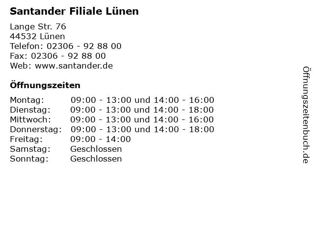 Santander Filiale Lünen in Lünen: Adresse und Öffnungszeiten