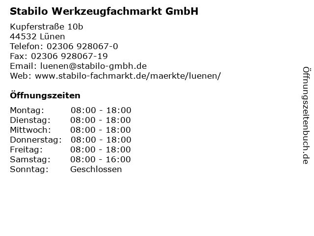 Stabilo Werkzeugfachmarkt GmbH in Lünen: Adresse und Öffnungszeiten