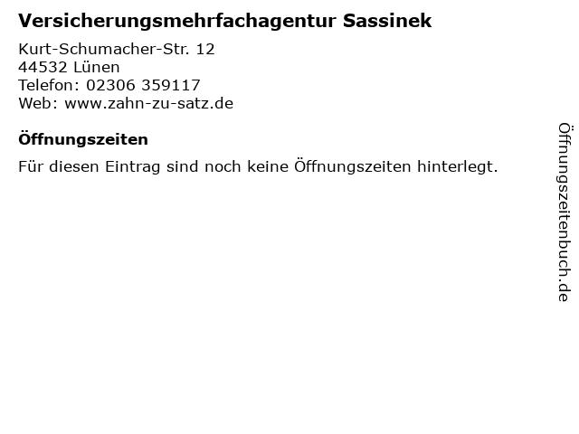 Versicherungsmehrfachagentur Sassinek in Lünen: Adresse und Öffnungszeiten