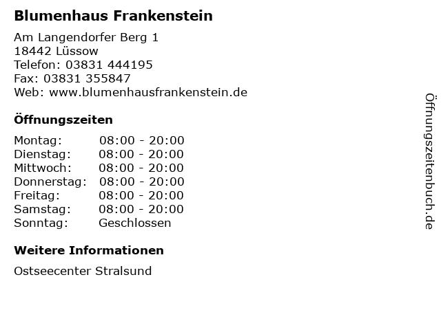 Blumenhaus Frankenstein in Lüssow: Adresse und Öffnungszeiten