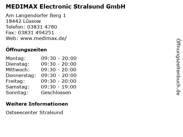 MEDIMAX Electronic Stralsund GmbH in Lüssow: Adresse und Öffnungszeiten